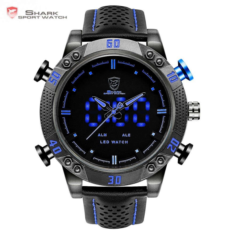 Kitefin Shark Sport Watch Brand Blue Outdoor Hiking Digital LED Electronic Watches Calendar Alarm Leather Band Men Clock /SH265 splendid brand new boys girls students time clock electronic digital lcd wrist sport watch