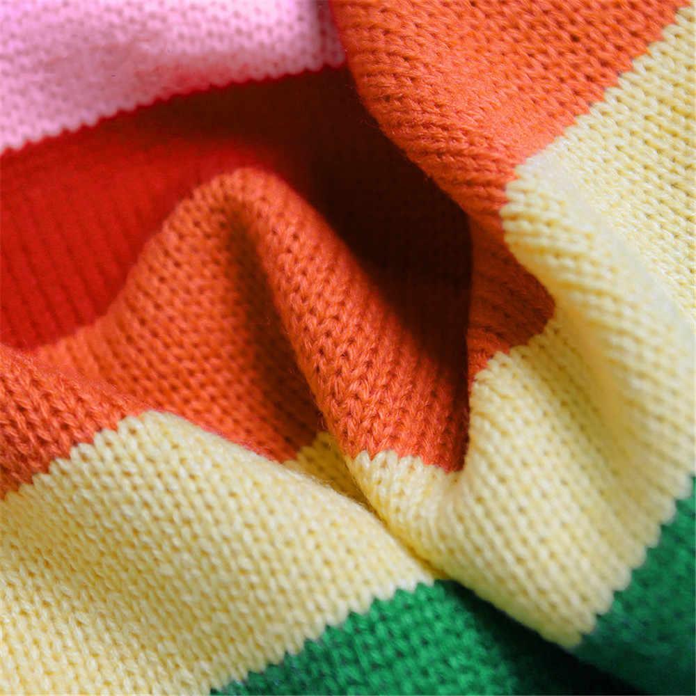 2019 Новый Модный женский Радужный негабаритный кардиган длинный трикотажный свитер верхние Топы Femme теплые свитера Sueter Mujer C-396