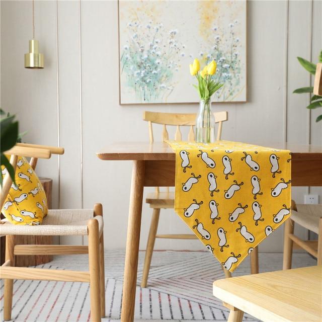 Pato amarillo camino de mesa moderna simplicidad mesas de tela bodas ...