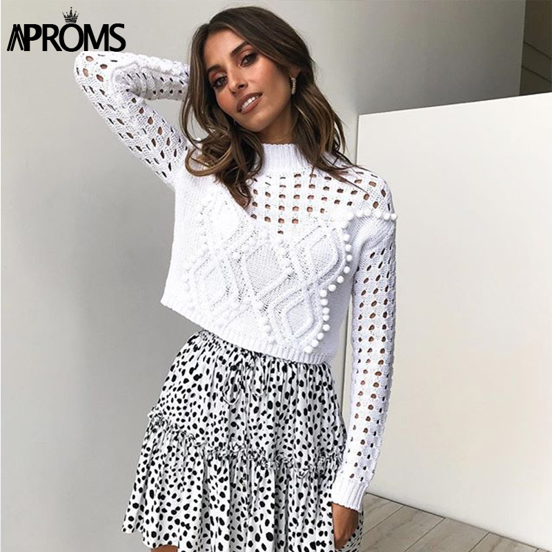 Aproms Elegant High Neck PomPom Knitted Sweater Women Long Sleeve Cropped Sweater Autumn Winter Short Slim Pullover White Jumper