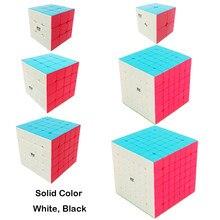 QiYi квадратный магический куб 2x2 3x3 4x4 5x5 6x6 7x7 однотонный белый черный наклейка для соревнований скоростной куб головоломка для детей начинающ...
