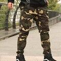 2016 новое прибытие мода тучных мужчин Камуфляж комбинезоны свободные случайные брюки beam брюки плюс размер XXL 3XL 4XL 5XL 6XL 7XL 8XL