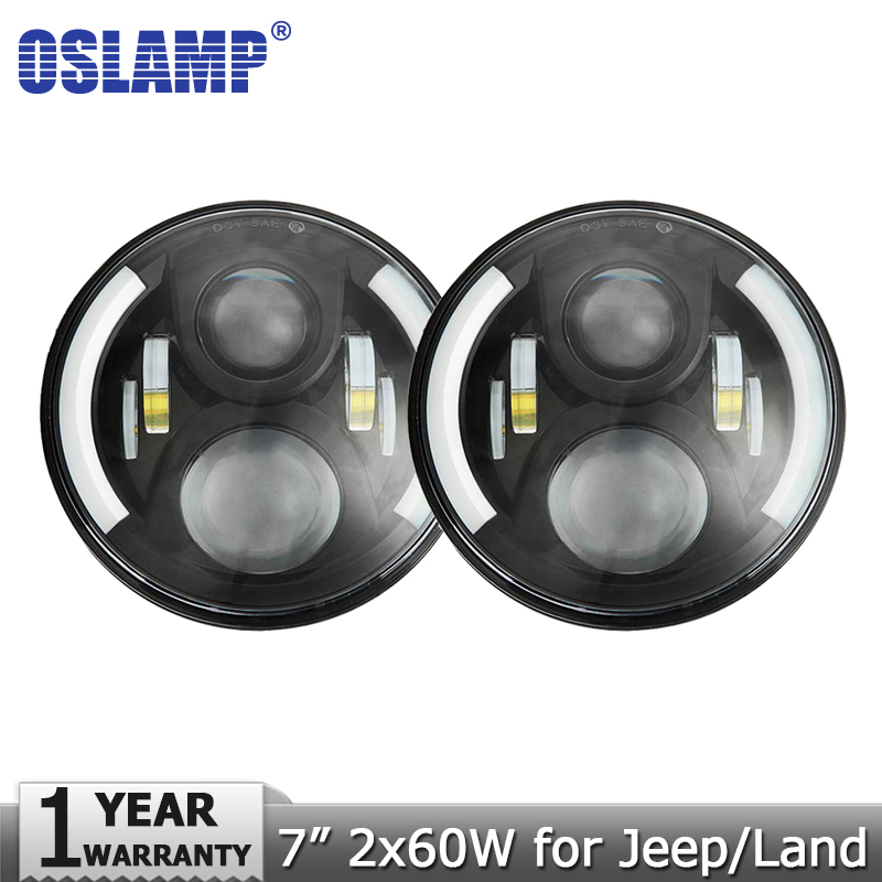 Oslamp 2pcs 7 60W LED Headlight for Jeep CJ/Wrangler JK Headlamps Led Driving Light for Land Rover Defender H4 H13 Headlights руководящий насос range rover land rover 4 0 4 6 1999 2002 p38 oem qvb000050