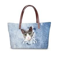 3D Blue Denim Cat Print Luxury Handbags Women Bags Designer Big Cross body Bag for Ladies Top handle Bolsa Feminina