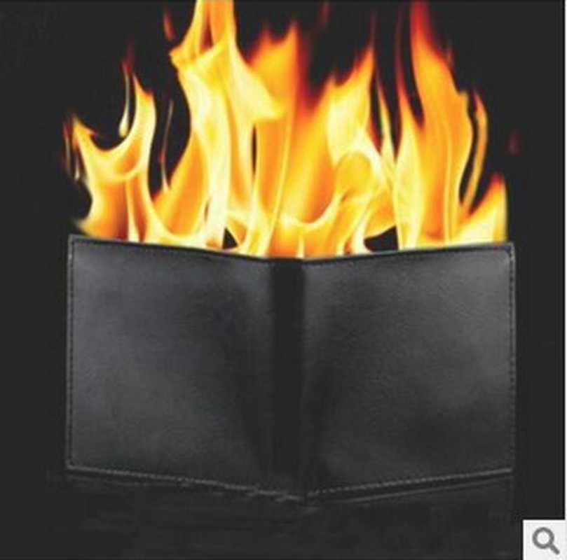 Magic trick flame fire wallet slim short high quality wallet men brand wallets leather purse magica carteira masculina 40