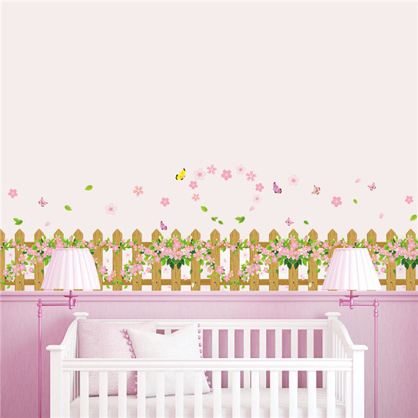 Spring Flower Lovely Wedding Home Decoration Green Removable Wall Stick For Baby Bedroom Fence Window Art Stick