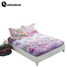 100% Cotton Modren Bed Sheets Printed Flowers Fitted Sheet Mattress Cover Simply Elastic Edge Fixed Mattress Topper Cozy Bedding