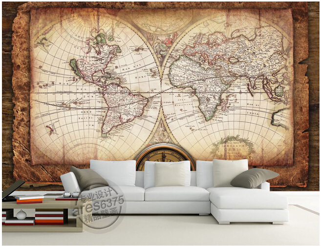 Custom retro wallpaper world navigation map murals for the living room bedroom wall waterproof Papel de parede vinyl the physical world wall map material laminated