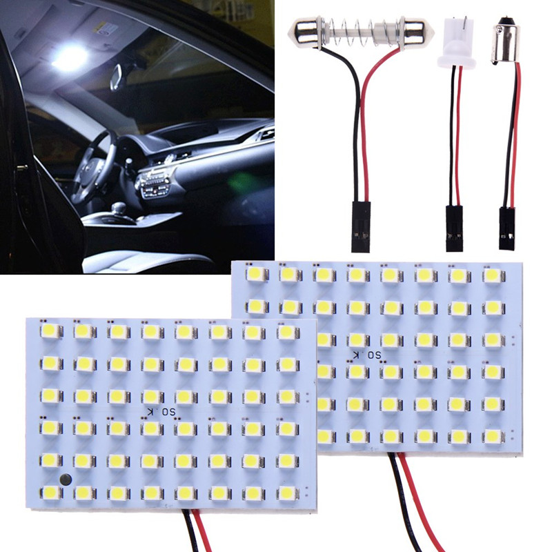 2 Sets Car Interior 5050 Panel 48 SMD LED Pure White Light Lamp+T10+Festoon+BA9S 12V x2 Dome Light Reading light 2pcs 12v 31mm 36mm 39mm 41mm canbus led auto festoon light error free interior doom lamp car styling for volvo bmw audi benz