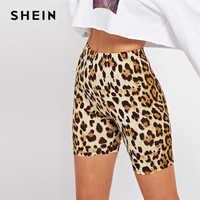 Shein multicolorido casual highstreet leopardo imprimir magro curto legging verão moderno senhora athleisure calças femininas colheita