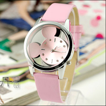 купить 2019 Fashion Women Watches quartz casual transparent Mickey hollow dial leather wristwatches women dress watch relogio feminino дешево