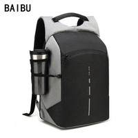 BAIBU Men Multifunction Backpack Anti Theft Waterproof Design Laptop Backpack Student Boy School Bags For Teenagers