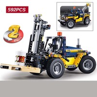 592pcs Urban machinery group heavy forklift Model Building Blocks For children Christmas gifts Compatible With Legoings car