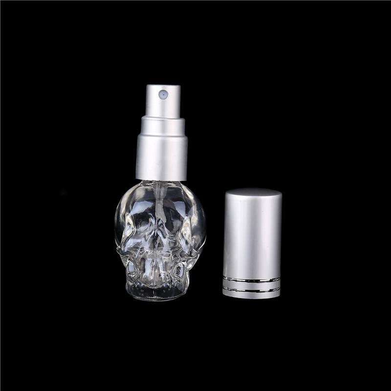 Wholesale 8ML Mini Fashion Skull Glass Perfume Bottle Empty Clear Atomizer Spray Bottle Refillable Perfume Packaging