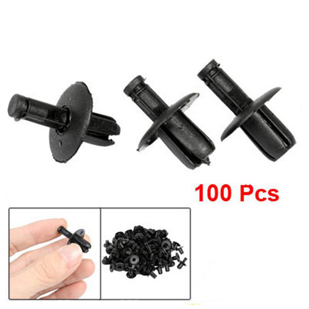 100 Pcs Plastic Push in Type Car Fasteners Rivets Bumper Door Side Skirts Fender Fastener Clips 17mm Head Universal for Car Auto