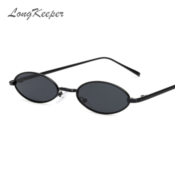 LongKeeper Vintage Small Oval Sunglasses Women Sexy Brand Designer Sun Glasses Retro Metal Frame Shades Eyewear gafas de sol oval cateye glasses fashion sunglasses classic vintage sunglasses women metal frame sun glasses mirror lens shade gafas de sol