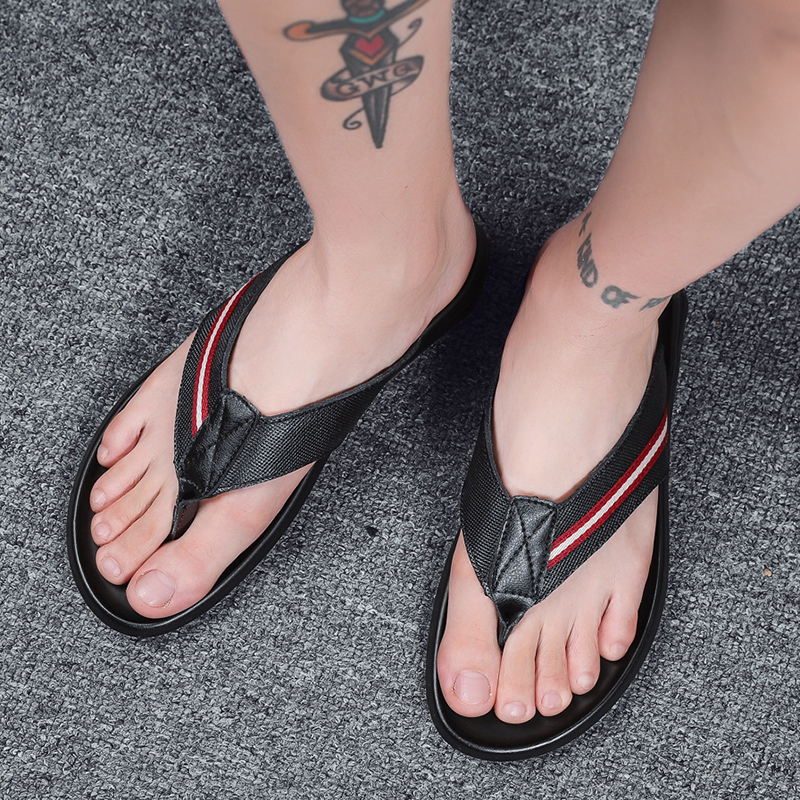 Mannen koe lederen slippers slippers buiten zwart mode Leisure mens schoenen Luxe Strand Flat Met Casual 2019 sandalen - 5