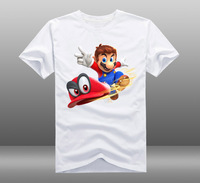 2017 Game Super Mario Odyssey Mens Casual Short Sleeve Cotton O Neck Printing Pattern T Shirts