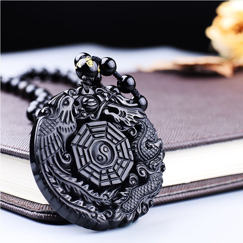 Black Obsidian Carving Dragon and Phoenix Necklace Pendant Obsidian Lucky Pendants