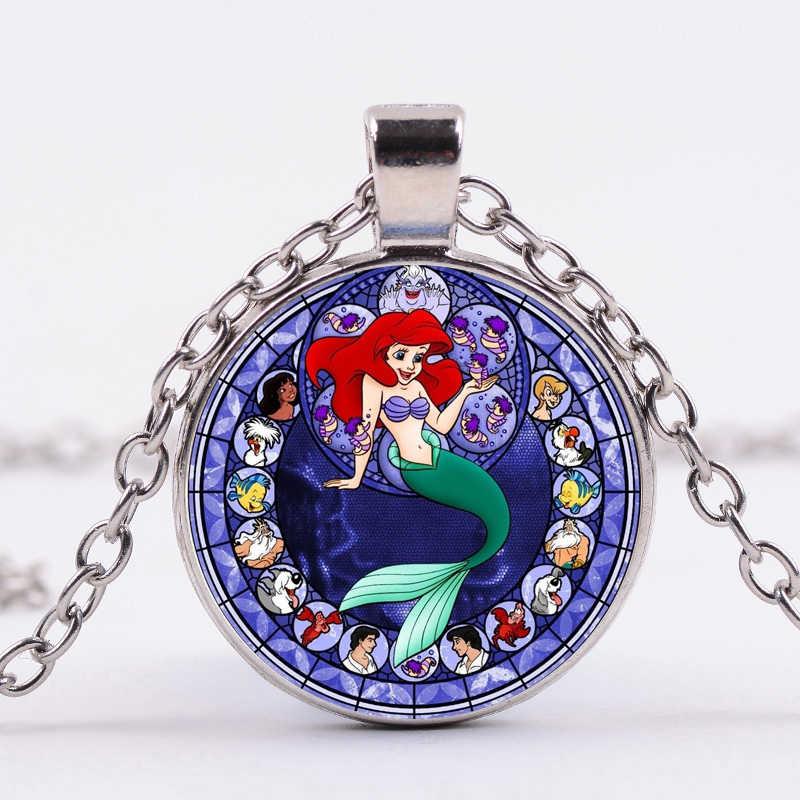 SIAN Clássico Conto de Fadas Colar de Princesa Ariel Da Pequena Sereia Arte Silhueta de Vidro Cristal Pingente Crianças Presente Bijoux