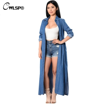 CWLSP 2018 Denim Trench Coat For Women Fashion Solid Lengthened Trench Coat  Female casual Coat X-long Casaco Feminino QZ2142