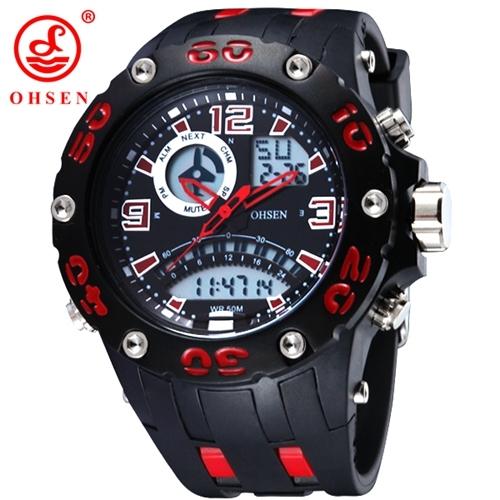 Ohsen esportes ao ar livre relógios homens digitais levou 50 m à prova d' água relógio militar do exército alarme relógios de pulso pulseira de borracha