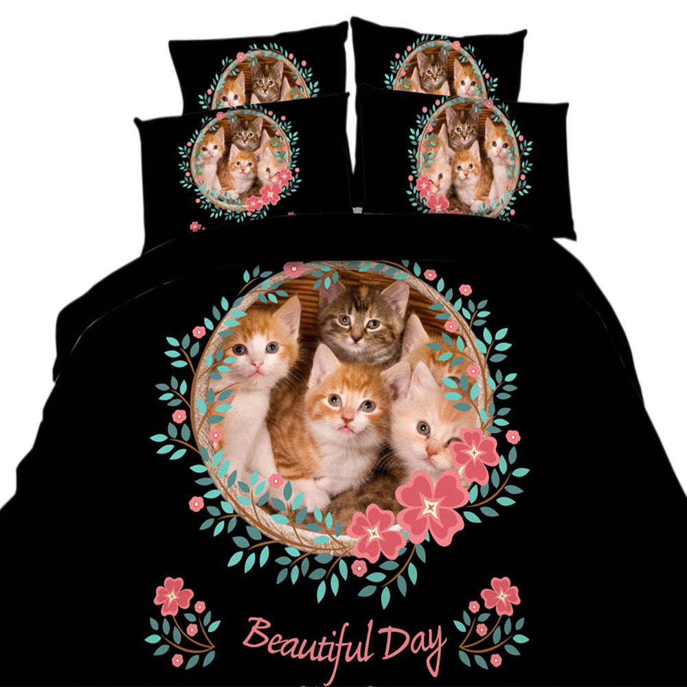 3/4 Pieces Twin/Queen/King/Super King Size Cotton Bedding Set Cat Flower Pattern Duvet Cover Set Cute Kitty Animal Print Black 3/4 Pieces Twin/Queen/King/Super King Size Cotton Bedding Set Cat Flower Pattern Duvet Cover Set Cute Kitty Animal Print Black