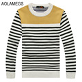 Aolamegs Striped Sweater Men Pullovers Male High-quality Knitted Sweater Hombre Fashion Casual Autumn Winter Sweater Plus Size