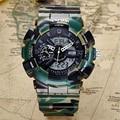 Мода мужская Цифровые Часы Многофункциональный Серебристых Будильник Водонепроницаемый Большой Циферблат Движение Двойной Дисплей Led 30 м Водонепроницаемый