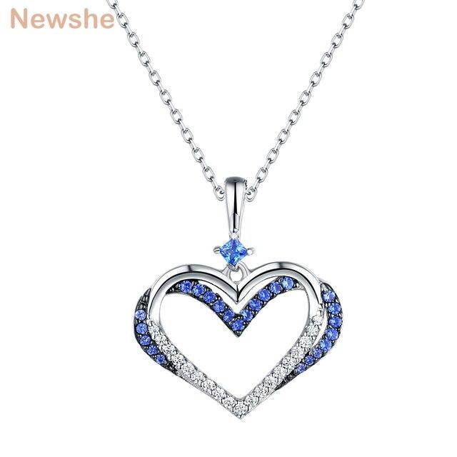 198d69c01141 Newshe elegante colgante de forma de corazón blanco y azul AAA CZ de Plata  de Ley 925 Plata 18