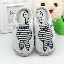Autumn and winter cute cotton slippers women with half-thick-walled couple home shoes men thick warm non-slip month shoes