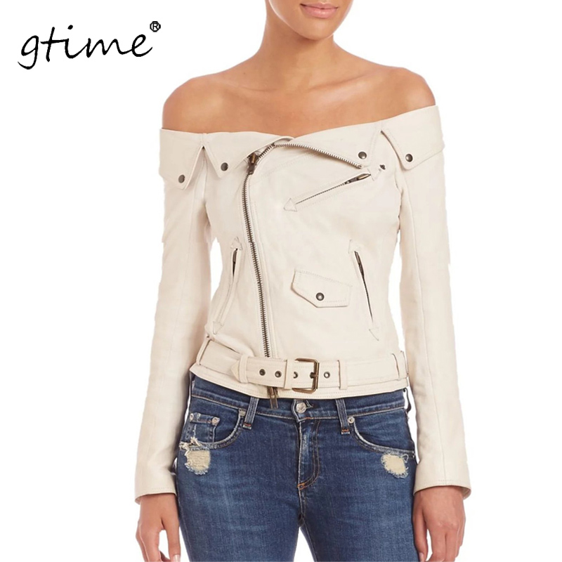 GTIME Dropshipping shoulder faux   leather   jacket women motorcycle jacket autumn winter coats Short zipper basic jackets ZKQA27