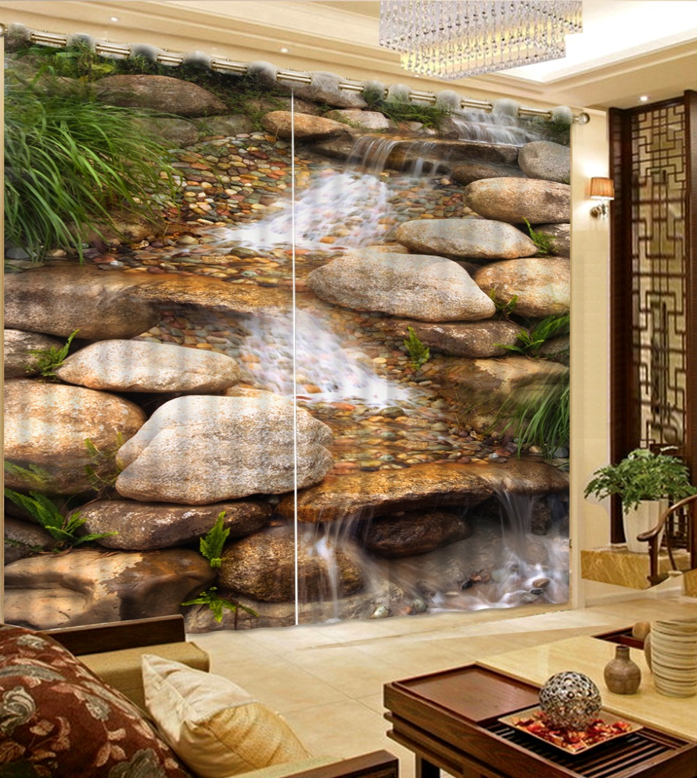 Window Curtains Customize Stone flowing water 3D Curtains For Living room Bed room Office Hotel Home Wall 3D Curtain   Window Curtains Customize Stone flowing water 3D Curtains For Living room Bed room Office Hotel Home Wall 3D Curtain