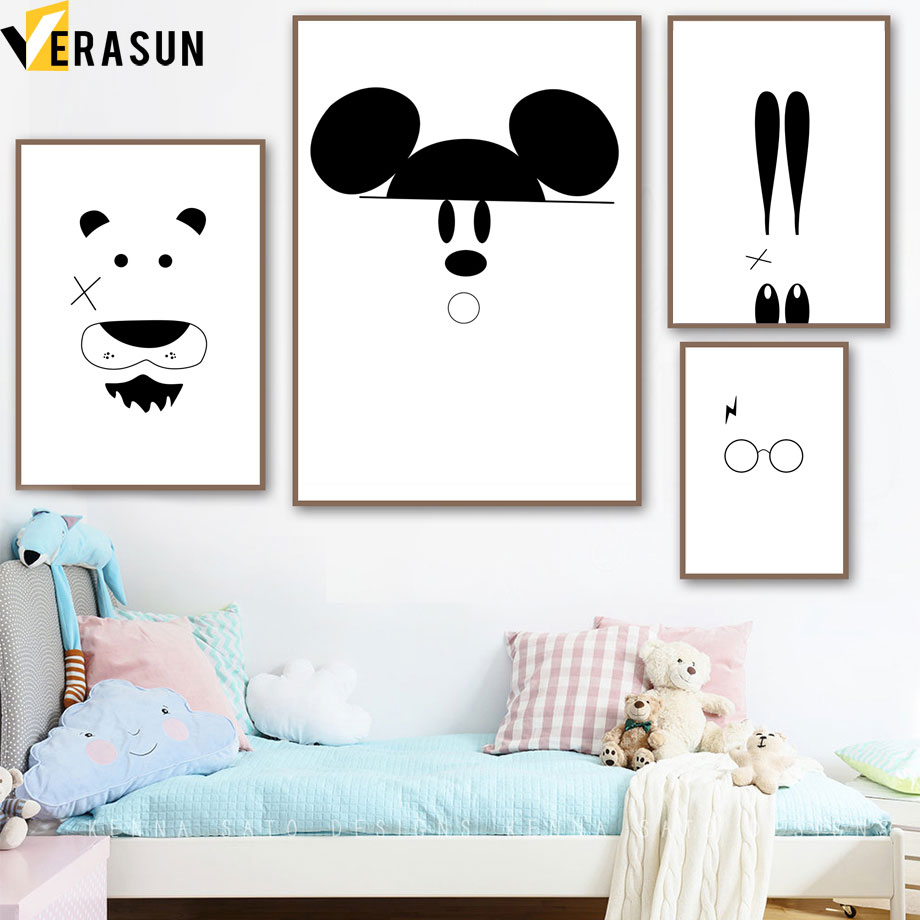 Us 3 18 49 Off Black White Abstract Rabbit Mickey Mouse Animal Wall Art Canvas Painting Nordic Posters And Prints Wall Pictures Kids Room Decor In