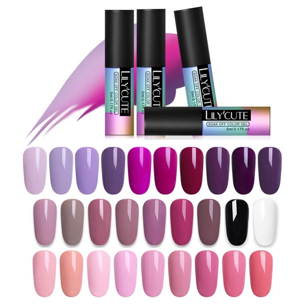 LILYCUTE 5 мл розовый Ню замочить от УФ Гель-лак фиолетовый черный белый гель для ногтей длительный Чистый Цвет гель лак для ногтей маникюр