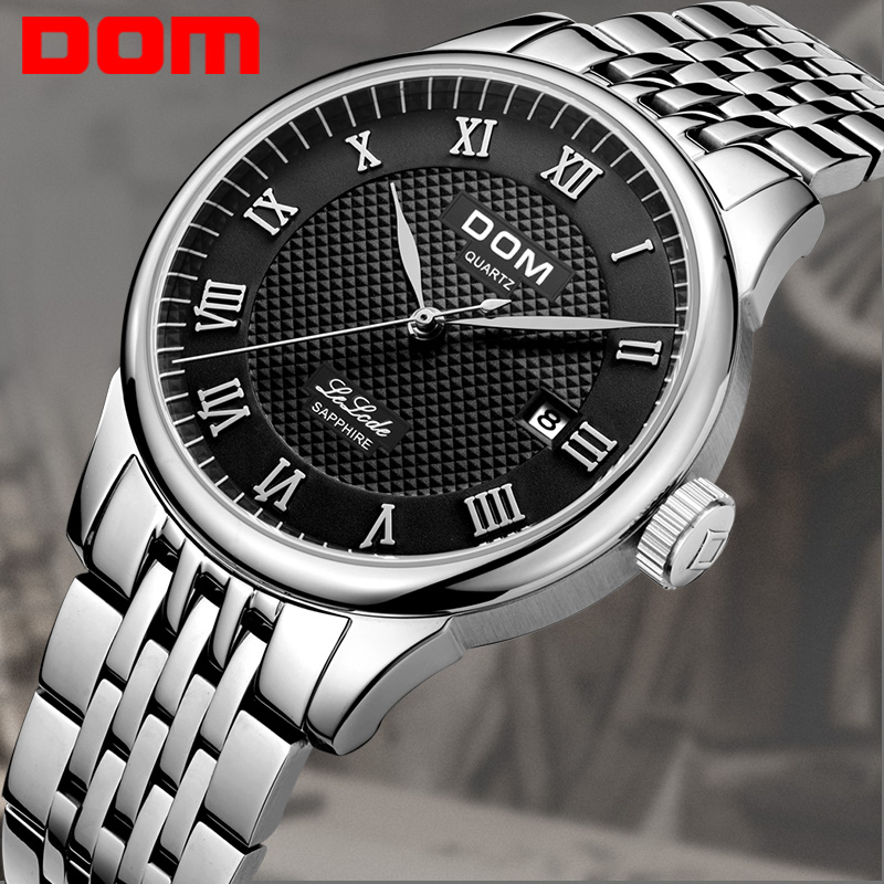 sapphire crystal watches men promotion shop for promotional dom business clock men full steel band men s luxury watches men 2016 sapphire crystal male clock men relogio masculino
