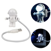 New Style Cool New Astronaut Spaceman USB LED Adjustable Night Light For Computer PC Lamp Desk Light Pure White(China)