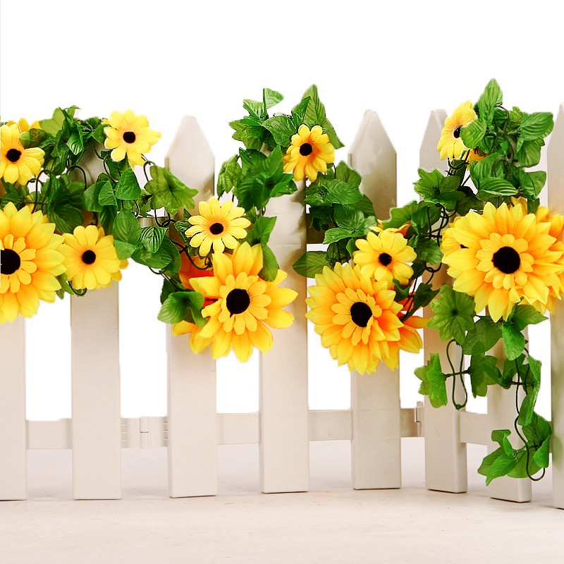 Diy Wedding Arch With Sunflowers: Artificial Sunflower Cane Flower Vines Wedding Arch