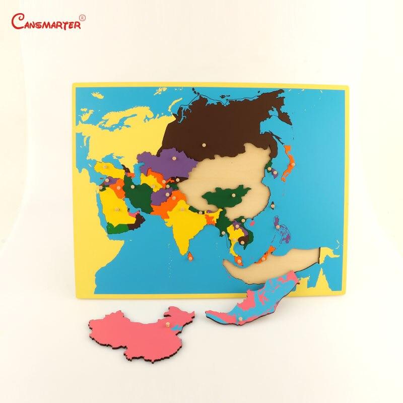 Géographie asie cartes conseil Puzzles 3D Montessori avec bouton jeux jouets enfants Montessori matériaux bois jouets enseignement Puzzle GE10-3