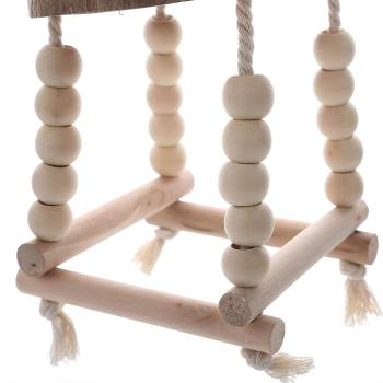 Bird Chewing Bird Swings Toy Coconut Shell Cage Perch Toy Paw Grinding Ladder for Parrot Macaw African Greys Budgies Cockatoo 2