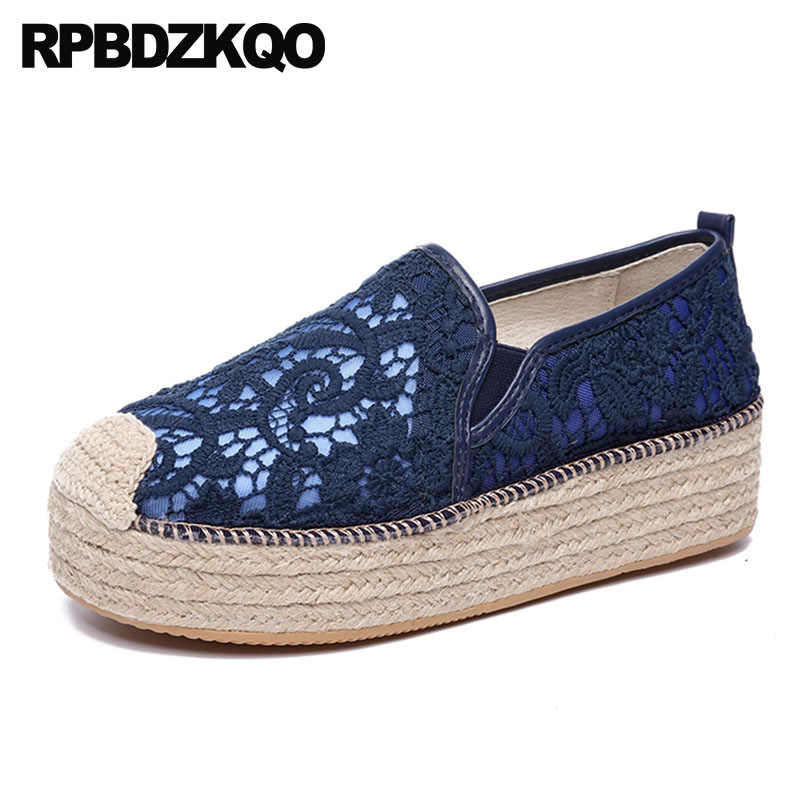 f21fd91b7 Large Size Creepers Platform Shoes Rope Mesh Women Casual White Lace  Elevator Navy Blue Espadrilles Muffin