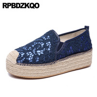 Large Size Creepers Platform Shoes Rope Mesh Women Casual White Lace Elevator Navy Blue Espadrilles Muffin Flats Thick Sole Hemp