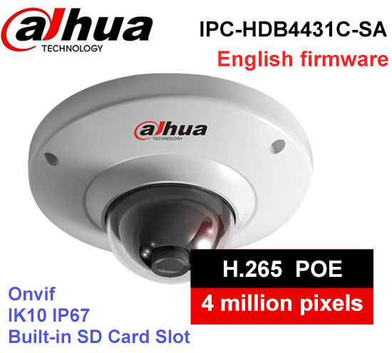 Dahua H2.65 IPC-HDB4431C-SA 4MP IP67 IK10 built-in MIC with sd Card slot POE ip camera replace IPC-HDB4300C dome camera ahua ipc eb5531 5mp wdr panorama 180 degree built in mic with sd card slot poe network fisheye ip camera replace ipc eb5500