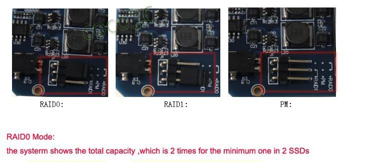 USB 3.1 Type-C to 2 mSATA SSD enclosure USB-C to mini SATA SSD RAID 1 0 adapter 6