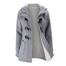 Chaqueta abrigo de invierno para mujer 2019 con capucha mezcla de lana prka clásico cuerno cuero hebilla abrigo delgado para damas chaqueta de invierno Mujer parka