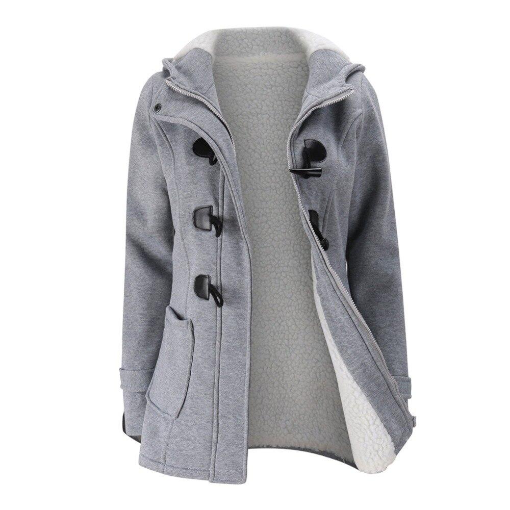 Jacket Coat Winter Women 2019 Hooded Wool Blend Praka Classic Horn Leather Buckle Coat Slim For Ladies Winter Jacket Woman Parka