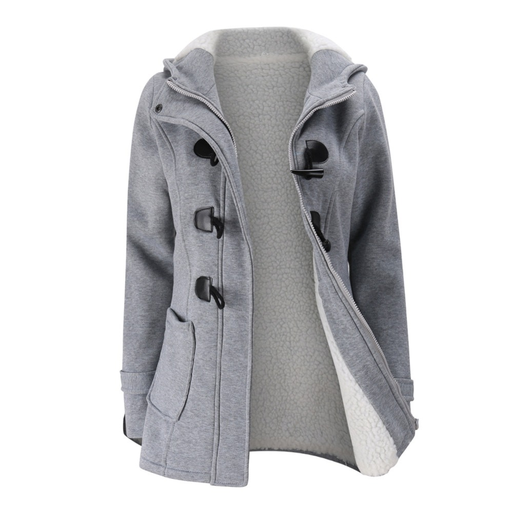 Jacket Coat Winter Women 2019 Hooded Wool Blend Praka Classic Horn Leather Buckle Coat Slim For Ladies Winter Jacket Woman Parka image
