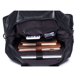 Image 5 - 패션 남자 여행 가방 수하물 방수 가방 더플 백 큰 대용량 가방 캐주얼 대용량 PU 가죽 핸드백