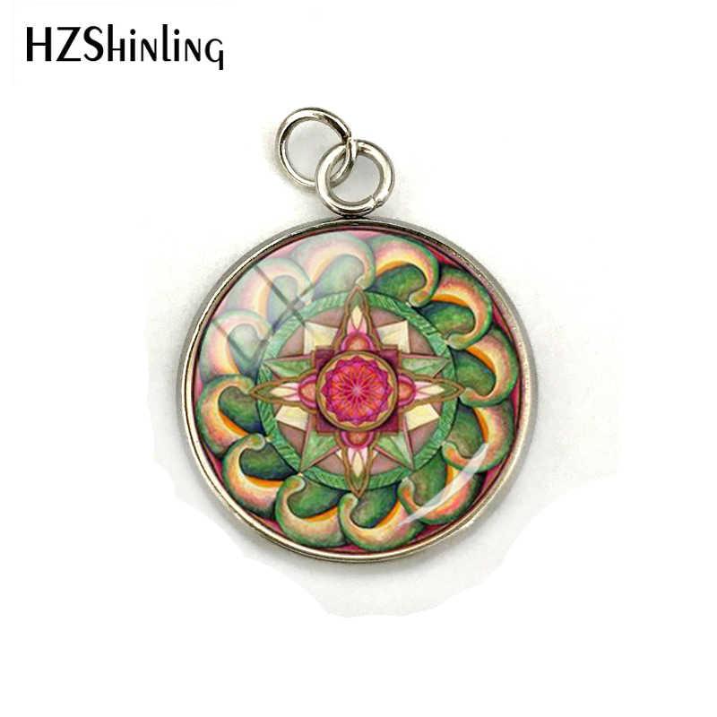 Nova flor da vida charme om yoga chakra pingente mandala aço inoxidável chapeado cúpula de vidro geometria sagrada jóias femininas