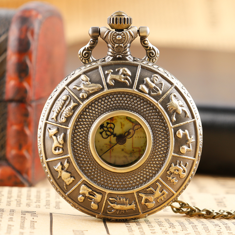 Retro 12 Constellations Quartz Pocket Watch Light Green Map Dail Pattern Casual Necklace Chain Fob Clock Men Ladies Best Gift